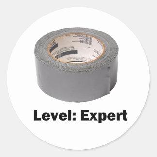 Duct Tape Level Expert Round Sticker