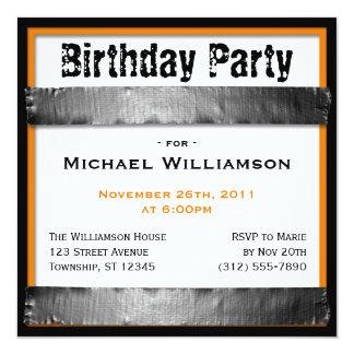 Duct Tape Square Men's Orange Birthday Invitations