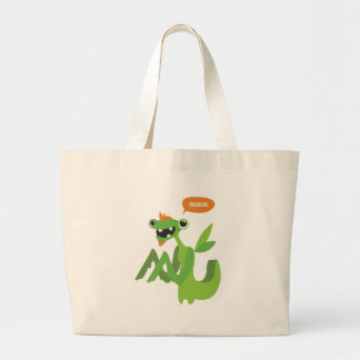dude, cute cool animal cartoon design large tote bag