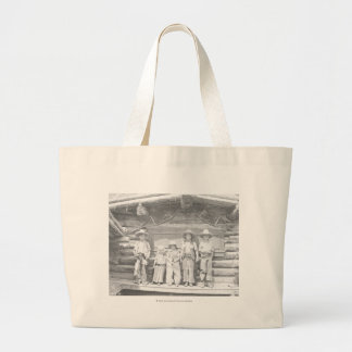 Dude ranch photo of children in cowboy clothes large tote bag