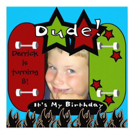 Dude Skateboarding Birthday Invitation
