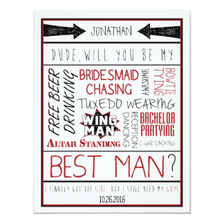 Dude, Will you be my Best Man? Red/Black Collage 11 Cm X 14 Cm Invitation Card