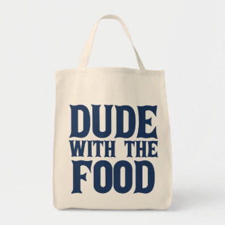 Dude With The Food Blue Grocery Tote Bag