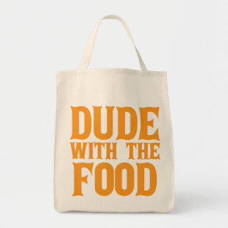 Dude With The Food Orange Grocery Tote Bag