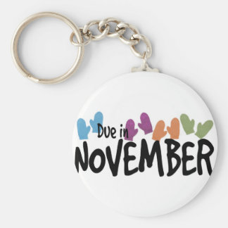 Due in November - Winter Mittens Basic Round Button Key Ring