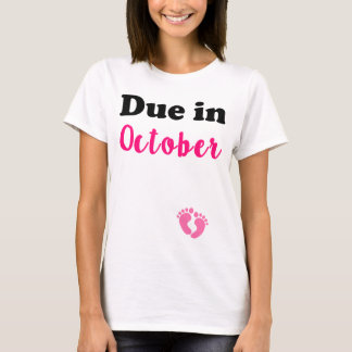 Due in October Pink Women's Pregnant shirt