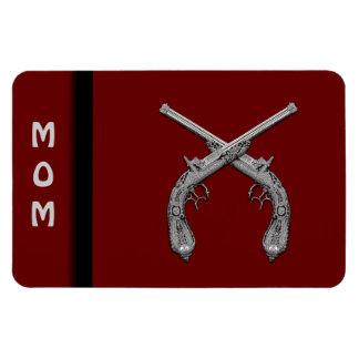 Dueling Antique Guns Maroon Vinyl Magnet