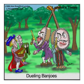 Dueling Banjoes Funny Cartoon Poster by Rick Londo Posters