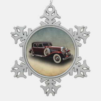 Duesenberg (Duesy) Model J Classic Car Snowflake Pewter Christmas Ornament