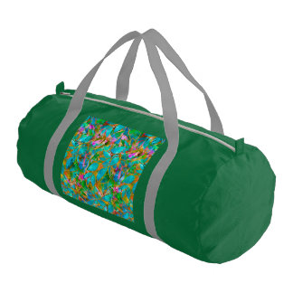 Duffle Gym Bag Floral Abstract Stained Glass
