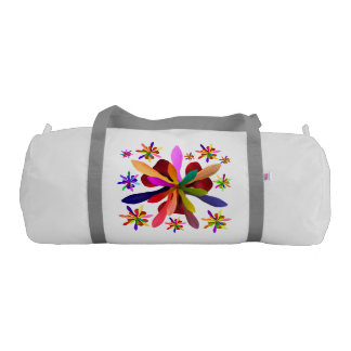 Duffle Gym Bag with Stylized Flower 1