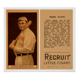 Duffy Lewis Red Sox Baseball 1912 Poster