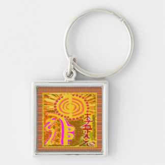 Dull Vintage Print: Finest Healing REIKI Symbols Silver-Colored Square Key Ring