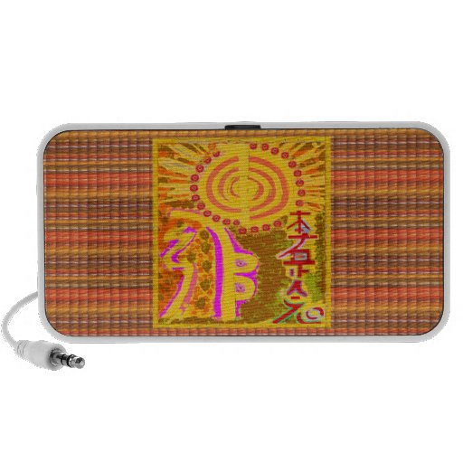 Dull Vintage Print: Finest Healing REIKI Symbols Portable Speakers