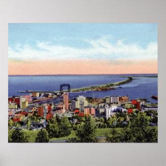 Duluth Minnesota Birdseye View from Skyline Drive Poster