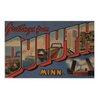 Duluth, Minnesota - Large Letter Scenes Poster