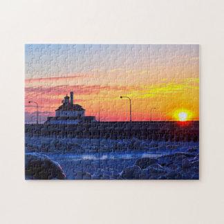 Duluth Minnesota Lighthouse Sunrise Jigsaw Puzzle