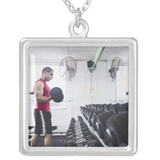 Dumbbells 2 silver plated necklace