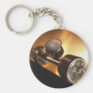 Dumbbells Basic Round Button Key Ring