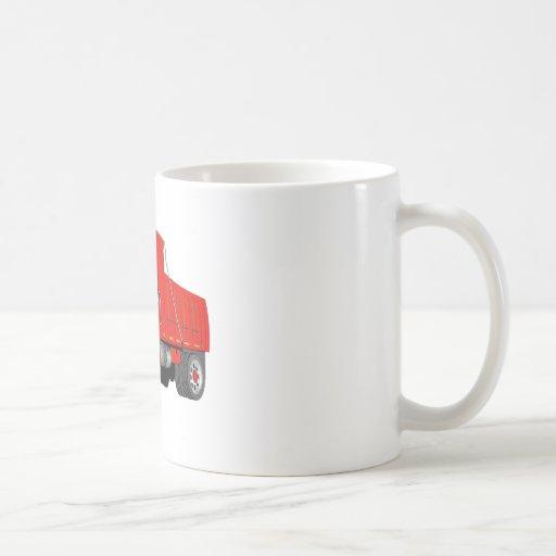 Dump Truck 2 Axle Red Cartoon Coffee Mugs