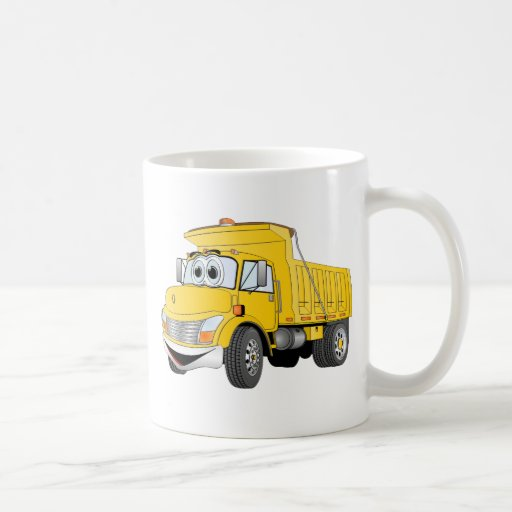 Dump Truck 2 Axle Yellow Cartoon Coffee Mugs