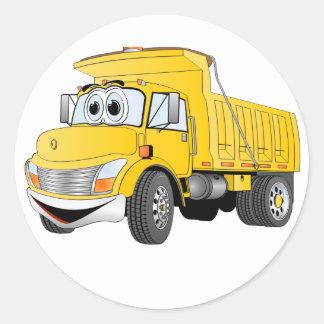 Dump Truck 2 Axle Yellow Cartoon Round Sticker