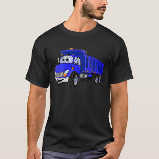 Dump Truck 3 Axle Blue Cartoon T-Shirt