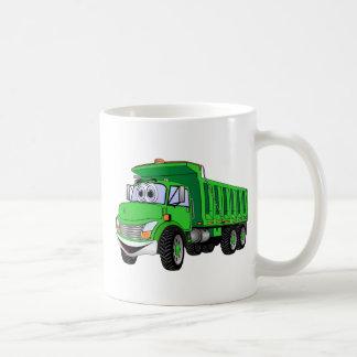 Dump Truck 3 Axle Green Cartoon Basic White Mug