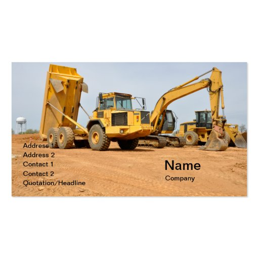 dump truck and backhoe business cards