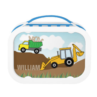 Dump Truck and Backhoe with Loader Personalized Lunch Box