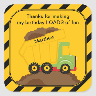 Dump Truck Birthday Thank You Square Sticker