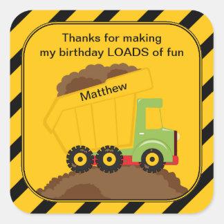 Dump Truck Birthday Thank You Square Sticker