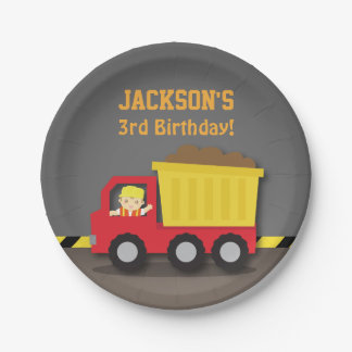 Dump Truck Construction Birthday Party Supplies Paper Plate