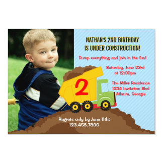 Dump Truck Construction Boy Birthday Party Photo 13 Cm X 18 Cm Invitation Card