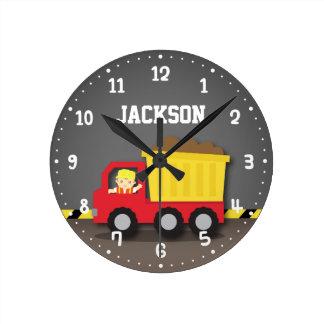 Dump Truck Construction Builder Boys Room Decor Clock