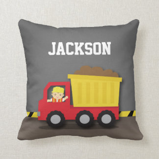 Dump Truck Construction Builder Boys Room Decor Throw Pillow