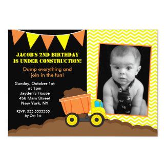 "Dump Truck Construction Photo Birthday Invitations 5"" X 7"" Invitation Card"