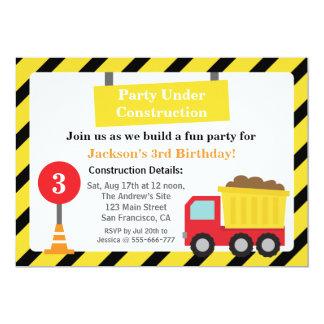 "Dump Truck Construction Theme Birthday Party 5"" X 7"" Invitation Card"