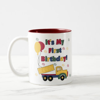 Dump Truck First Birthday Two-Tone Mug