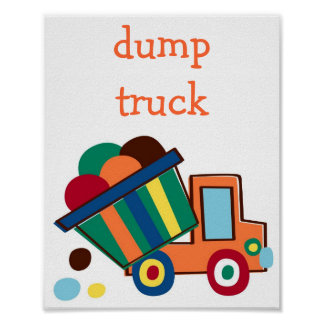 Dump Truck Nursery Kid's Wall Art Print 8X10