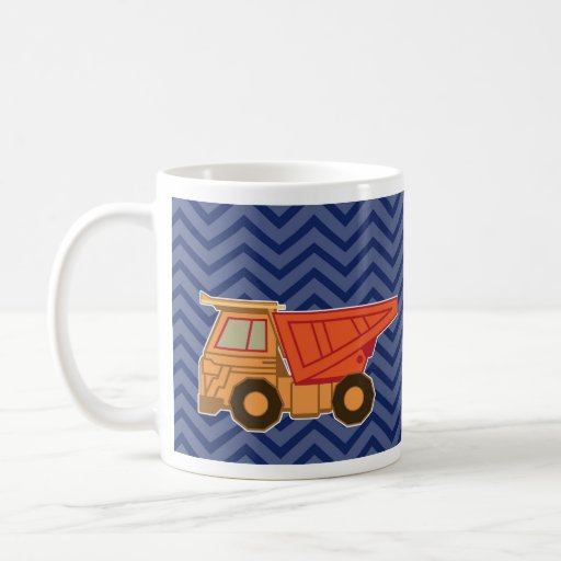 Dump Truck on zigzag chevron - Blue Coffee Mug