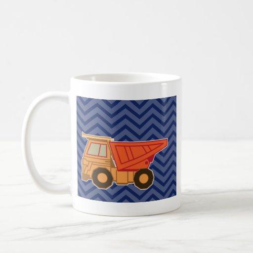 Dump Truck on zigzag chevron - Blue Coffee Mugs