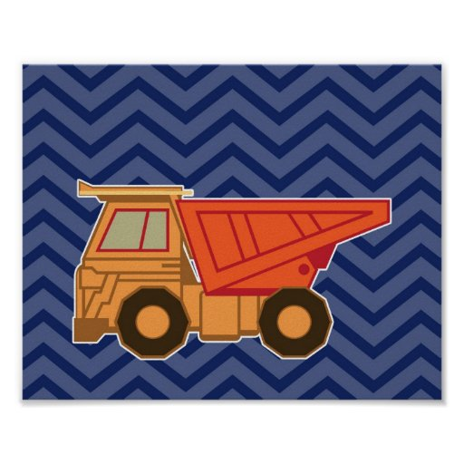 Dump Truck on zigzag chevron - Blue Posters