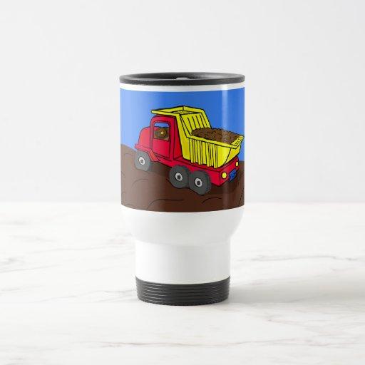 Dump Truck Red and Yellow Cartoon Art Mugs