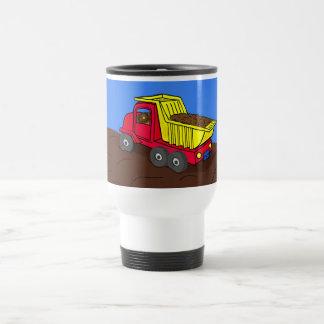 Dump Truck Red and Yellow Cartoon Art Stainless Steel Travel Mug