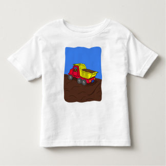 Dump Truck Red and Yellow Cartoon Art Tee Shirts