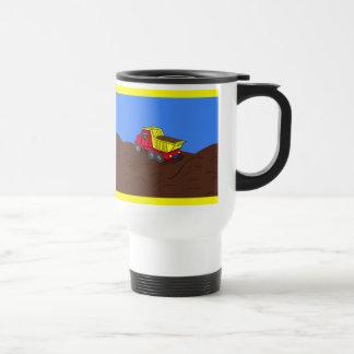 Dump Truck Red and Yellow Cartoon Art Travel Mug