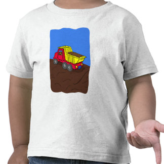 Dump Truck Red and Yellow Cartoon Art Tshirt