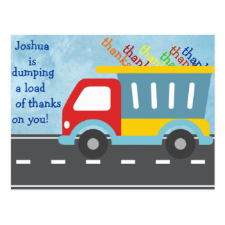 Dump truck THANK YOU postcard (personalize)