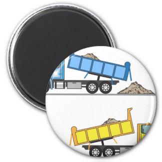 Dump Truck vector 6 Cm Round Magnet